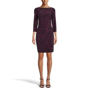 Anne Klein Patricia Printed Purple Sheath Dress